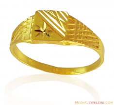 22k Gold Mens Thin Ring ( Mens Gold Ring )