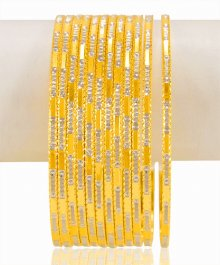 22Kt Gold Two Tone Bangles (12 PC) ( Two Tone Bangles )