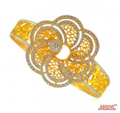 22 Kt Gold Designer Signity Bangle ( Stone Bangles )