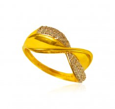 22k Gold Fancy Signity Stones Ring ( Ladies Signity Rings )