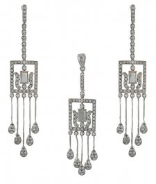 White Gold Designer Pendant Set ( White Gold Pendant Sets )
