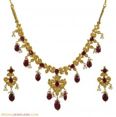 Polki Diamond Ruby Necklace Set