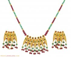 22K Gold Ruby, Emerald Necklace Set ( Combination Necklace Set )