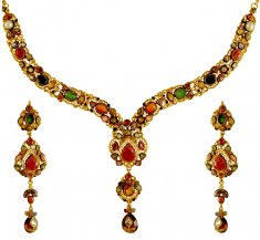 22kt Gold Antique Kundan Set ( Antique Necklace Sets )