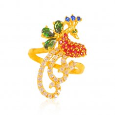 22K Gold Fancy Peacock Ring ( Ladies Signity Rings )
