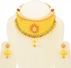 22K Gold Bridal Choker Necklace Set ( Bridal Necklace Sets )