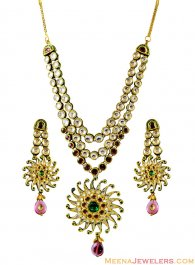22Kt Gold Kundan Set ( Antique Necklace Sets )