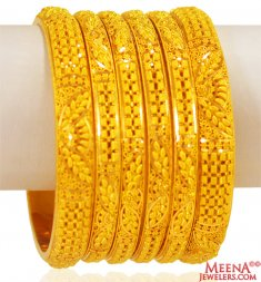 22k  Gold Filigree Bangles Set of 6 ( Set of Bangles )