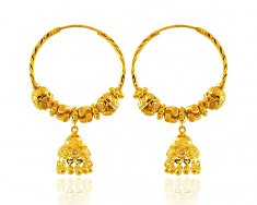 22K Yellow Gold Bali (Earrings) ( Hoop Earrings )