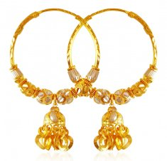 22K Gold Balls Hoop Earrings  ( Hoop Earrings )