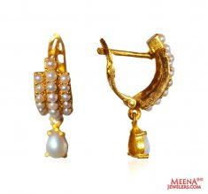22K Gold Pearl Earrings