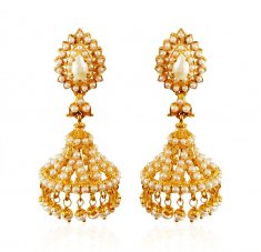 22Kt Gold Jumki Pearl Earrings ( Precious Stone Earrings )