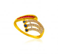22 Karat Gold CZ Ladies Ring