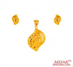 Meenakari 22K Gold Pendant set ( Gold Pendant Sets )