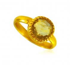 22k Gold Yellow Saphire Ring  ( Ladies Rings with Precious Stones )