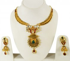 22 Kt Gold Antique Necklace Set ( Antique Necklace Sets )