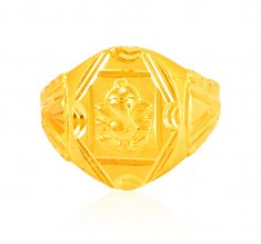 Solid Ganesh Mens Ring 22k gold ( Religious Rings )