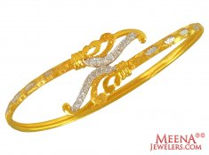 22k  Gold  Zircon Bangle