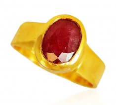22 Krat Gold Ring With Ruby ( Ladies Rings with Precious Stones )