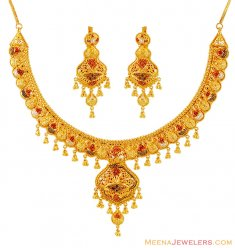 22k Gold 3 Tone Filigree Necklace Set