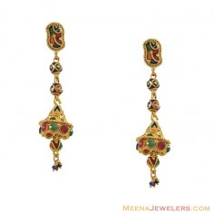 Meenakari Earrings (22K Gold) ( 22Kt Gold Fancy Earrings )