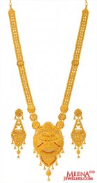 22kt Gold Long Necklace Earring Set