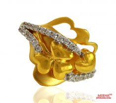 22 Kt CZ Fancy Gold Ring ( Ladies Signity Rings )