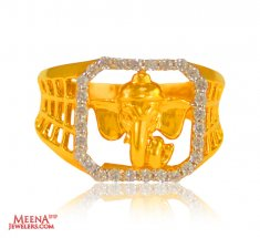 22K Gold Mens Ganeesha Ring ( Religious Rings )