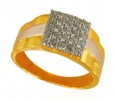 22K Two Tone Mens Signity Ring