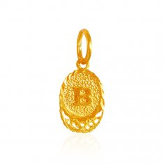 22K Gold Pendant with Initial (B) ( Initial Pendants )