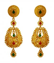 22kt Gold Polki Earring ( Long Earrings )