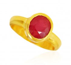 22 Karat Gold Ruby Ring ( Ladies Rings with Precious Stones )