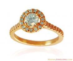 18k Gold Solitaire Halo Ring ( Diamond Rings )