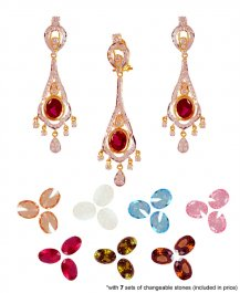 22k Fancy Changeable Stones Set ( Precious Stone Pendant Sets )
