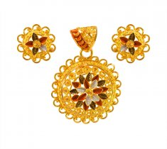 22Kt Gold Three Tone Pendant Set ( Gold Pendant Sets )