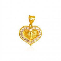 22K Gold T Initial Pendant with CZ ( Initial Pendants )