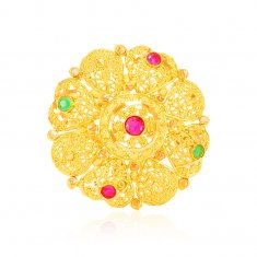22Kt Gold Ruby and Emerald Ring ( Ladies Gold Ring )