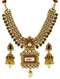 22K Executive Kundan Necklace Set ( Antique Necklace Sets )