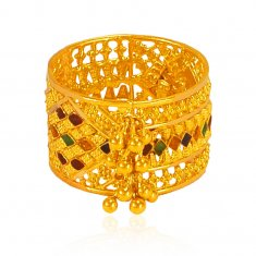 22 kt Gold Meenakari Ring ( Ladies Gold Ring )
