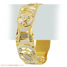 22K Color Stones Lazer Bangle(1 Pc) ( Two Tone Bangles )