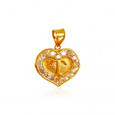 22k Gold Pendant with Initial (T) ( Initial Pendants )