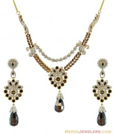 22k Gold Colored Stones Set