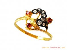 22k Colored Stones Ring  ( Ladies Rings with Precious Stones )