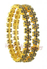 Gold Bangles (22 Karat) with Sapphire