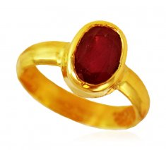 22Kt Gold Ruby Ring (Manik) ( Astrological BirthStone Rings )
