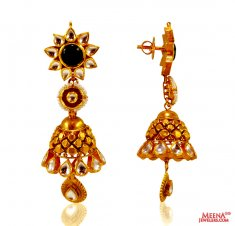 22 Kt Gold Antique Long Earring ( 22Kt Gold Fancy Earrings )