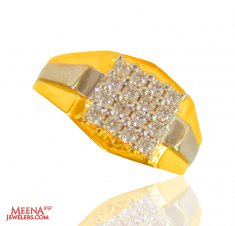 22 Karat Gold Two Tone Mens Ring ( Mens Signity Rings )