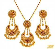 22 Kt Gold Ruby Pearl Pendant Set ( Precious Stone Pendant Sets )
