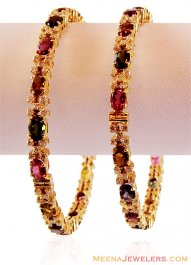 18K Gold Diamond Bangles(2 pcs)