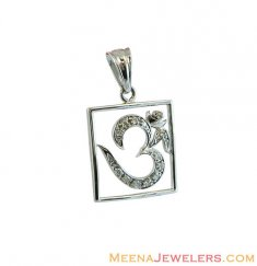 18K White Gold OM Pendant ( Om Pendants )